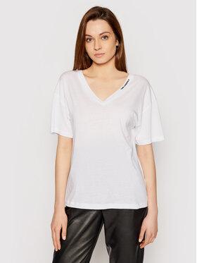 KARL LAGERFELD KARL LAGERFELD Marškinėliai Double V Neck 211W1701 Balta Regular Fit