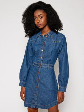 Wrangler Wrangler Džinsinė suknelė Western W9P4LLX8E Mėlyna Regular Fit