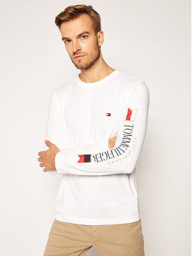 TOMMY HILFIGER TOMMY HILFIGER Longsleeve Mirrored Flags MW0MW15329 Λευκό Regular Fit