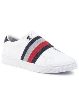 TOMMY HILFIGER TOMMY HILFIGER Sneakersy Slip On Elastic Casual Sneaker FW0FW04597 Bílá