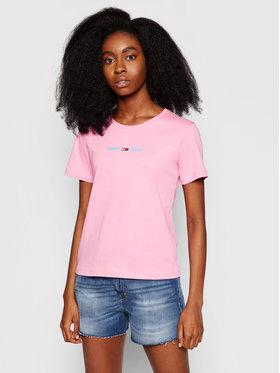 Tommy Jeans Tommy Jeans Póló Tjm Multi Linear Logo DW0DW09818 Rózsaszín Slim Fit