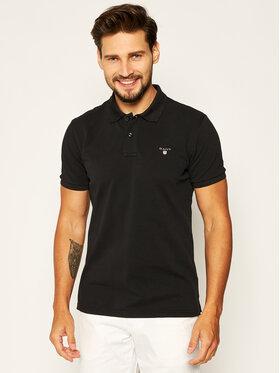 Gant Gant Тениска с яка и копчета 2201 Черен Regular Fit