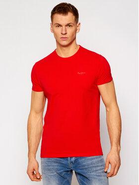 Pepe Jeans Pepe Jeans Marškinėliai Original Basic PM503835 Raudona Slim Fit