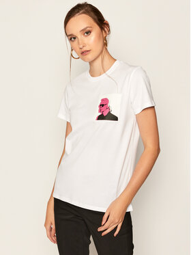 KARL LAGERFELD KARL LAGERFELD T-Shirt Double Print 205W1716 Biały Regular Fit