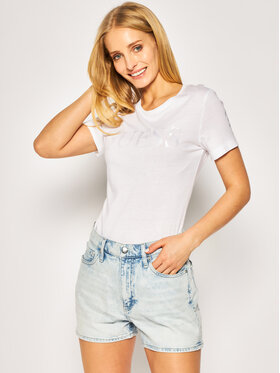 Guess Guess Тишърт Satinette Tee W0GI18 K46D0 Бял Regular Fit