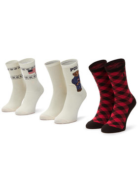 Polo Ralph Lauren Polo Ralph Lauren Комплект 3 чифта дълги чорапи дамски 455828219001 R. Os Бежов