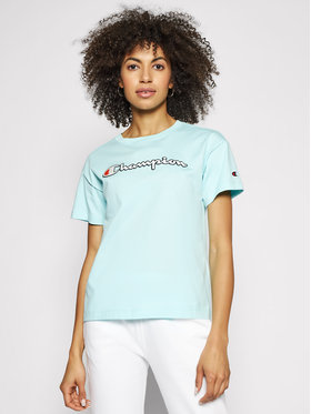 Champion Champion T-Shirt Vintage Script Logo Crew Neck 112650 Μπλε Custom Fit