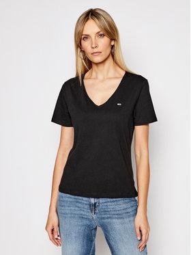 Tommy Jeans Tommy Jeans T-Shirt V Neck DW0DW09195 Černá Slim Fit