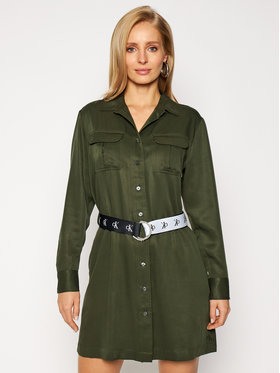 Calvin Klein Jeans Calvin Klein Jeans Sukienka koszulowa J20J214872 Zielony Regular Fit