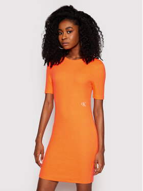 Calvin Klein Jeans Calvin Klein Jeans Sukienka codzienna J20J215679 Pomarańczowy Slim Fit