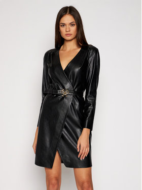 Pinko Pinko Šaty z imitácie kože Similpelle 2021 BLK01 1G152B Y6BE Čierna Regular Fit