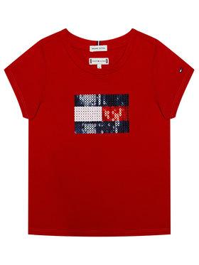 TOMMY HILFIGER TOMMY HILFIGER T-Shirt Flag Flip Sequins Tee KG0KG05251 M Červená Regular Fit