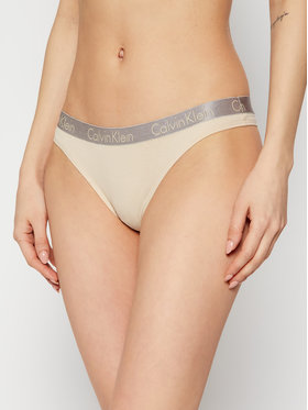 Calvin Klein Underwear Calvin Klein Underwear Stringi 000QD3539E Beżowy