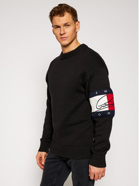 TOMMY HILFIGER TOMMY HILFIGER Pulover LEWIS HAMILTON Signature Flag MW0MW15914 Negru Relaxed Fit