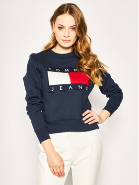 Tommy Jeans Tommy Jeans Džemperis Flag DW0DW07414 Tamsiai mėlyna Regular Fit