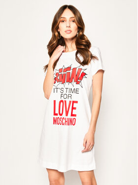 LOVE MOSCHINO LOVE MOSCHINO Sukienka codzienna W592910M 3876 Biały Regular Fit