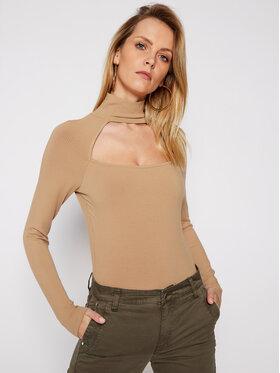Guess Guess Bluză cu gât Nihan W1RP19 KAER2 Bej Slim Fit