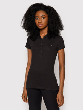 Tommy Hilfiger Tommy Hilfiger Тениска с яка и копчета 1M57636661 Черен Slim Fit