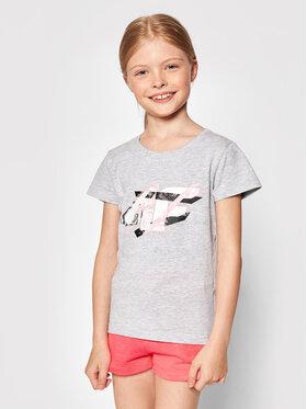 4F 4F T-Shirt HJL21-JTSD002A Šedá Regular Fit