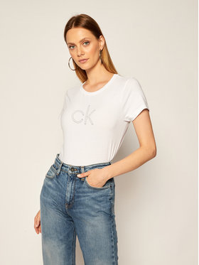 Calvin Klein Calvin Klein Тишърт Stud Logo K20K202155 Бял Regular Fit