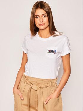 KARL LAGERFELD Tričko Bauhaus Logo Pocket Tee 201W1730 Biela Regular Fit
