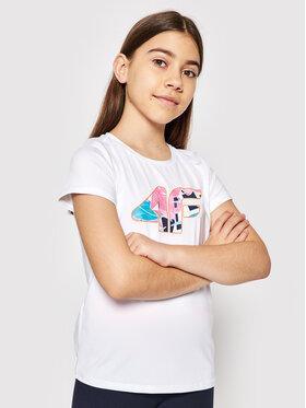 4F 4F Marškinėliai HJL21-JTSD015 Balta Regular Fit