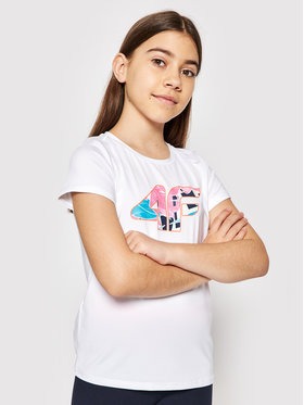 4F 4F T-Shirt HJL21-JTSD015 Bílá Regular Fit