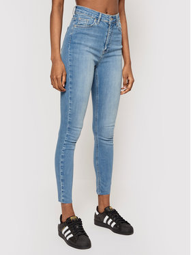 NA-KD NA-KD Jeansy Organic Skinny High Waist Raw Hem 1660-000118-0116-581 Modrá Skinny Fit