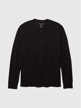 American Eagle American Eagle Тениска с дълъг ръкав 017-4171-1525 Черен Regular Fit