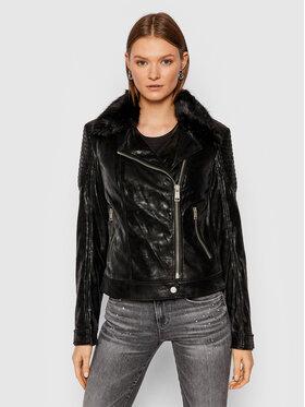 Guess Guess Яке от имитация на кожа Bora W1BL12 WE5V0 Черен Extra Slim Fit