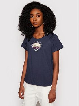 Roxy Roxy T-Shirt Smiley Days ERJZT05129 Granatowy Regular Fit