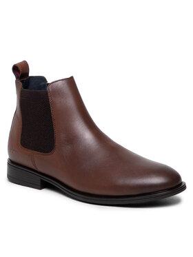 Tommy Hilfiger Tommy Hilfiger Kotníková obuv s elastickým prvkem Technical Leather Chelsea FM0FM03767 Hnědá