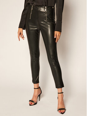 TwinSet TwinSet Kožené nohavice 202TP2062 Čierna Slim Fit