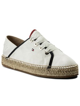 TOMMY HILFIGER TOMMY HILFIGER Espadrilės Th Metallic Lace Up Espadrille FW0FW02218 Balta