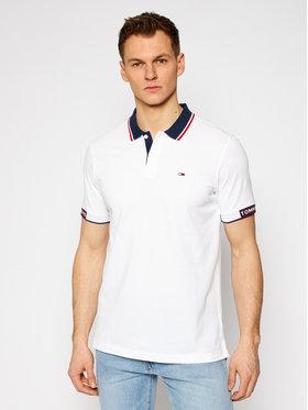 Tommy Jeans Tommy Jeans Тениска с яка и копчета Tj Detail Rib Jaquard DM0DM10326 Бял Regular Fit