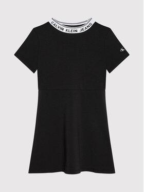 Calvin Klein Jeans Calvin Klein Jeans Ежедневна рокля Intarsia Logo Skater IG0IG01026 Черен Regular Fit