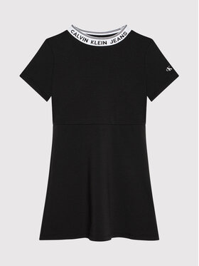 Calvin Klein Jeans Calvin Klein Jeans Každodenní šaty Intarsia Logo Skater IG0IG01026 Černá Regular Fit