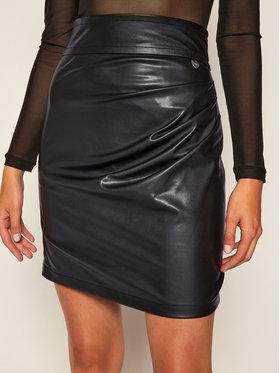 TwinSet TwinSet Kožená sukně 202TP2233 Černá Slim Fit