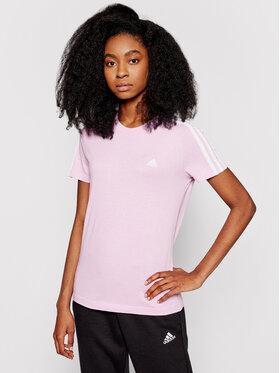 adidas adidas T-Shirt Loungewear Essentials 3-Stripes GL0790 Różowy Slim Fit