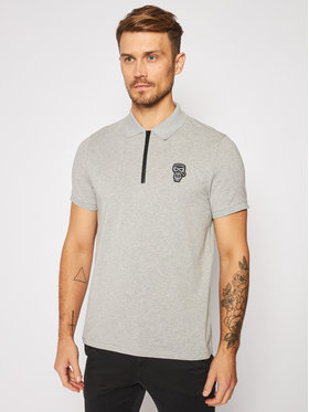 KARL LAGERFELD KARL LAGERFELD Тениска с яка и копчета 745 080 502 221 Сив Regular Fit