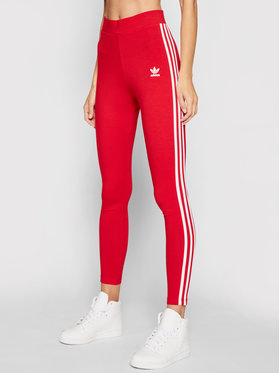 adidas adidas Legginsy 3-Stripes adicolor Classics GN8076 Czerwony Slim Fit