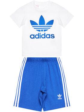 adidas adidas Komplektas: marškinėliai ir sportiniai šortai Trefoil GD2626 Balta Regular Fit