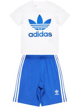 adidas adidas Set tricou și pantaloni scurți sport Trefoil GD2626 Alb Regular Fit