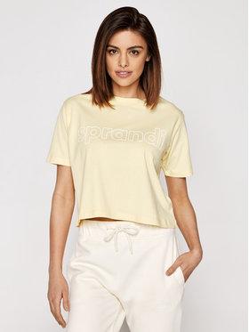 Sprandi Sprandi T-Shirt SS21-TSD005 Żółty Cropp Fit