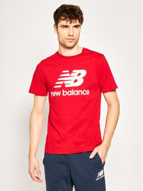 New Balance Tričko Essentials Stacked Logo Tee MT01575 Červená Athletic Fit