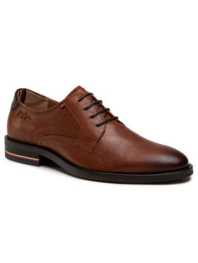 Tommy Hilfiger Tommy Hilfiger Обувки Signature Hilfiger Leather Shoe FM0FM03115 Кафяв