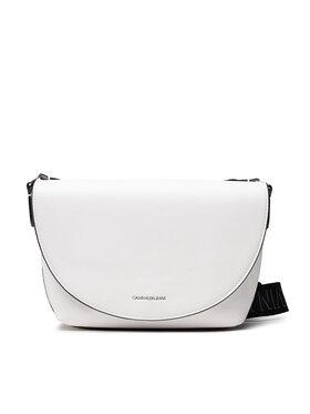 Calvin Klein Jeans Calvin Klein Jeans Дамска чанта Trapezoid Shadow E/W Flap Cony K60K608693 Бял