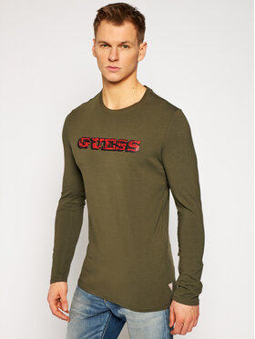 Guess Guess Marškinėliai ilgomis rankovėmis M1RI0A J1300 Žalia Slim Fit