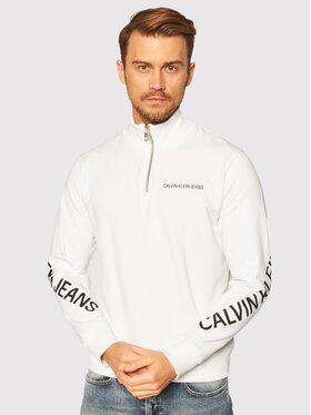 Calvin Klein Jeans Calvin Klein Jeans Džemperis Stretch Logo Half Zip J30J316523 Balta Regular Fit