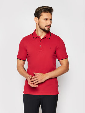 Calvin Klein Calvin Klein Тениска с яка и копчета Stretch Tipping K10K107211 Червен Slim Fit